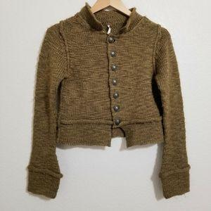 Free People Wool Blend Cropped Sweater Cardigan XS